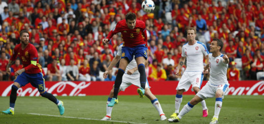 Football Soccer - Spain v Czech Republic - EURO 2016 - Group D - Stadium de Toulouse, Toulouse, France - 13/6/16 Spain's Gerard Pique scores their first goal  REUTERS/Sergio Perez Livepic