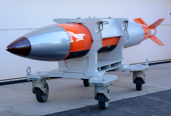 "View of a flight-test body of a B61-12 nuclear weapon, used for testing on operational aircraft at the Sandia National Laboratories in Albuquerque, New Mexico on April 2, 2015. The flight-test body is a semi-operational copy of an actual B61-12 but without the ""physics package"" (nuclear bomb) or functional tail fins.(Jerry Redfern / The Center for Investigative Reporting / Reveal)"